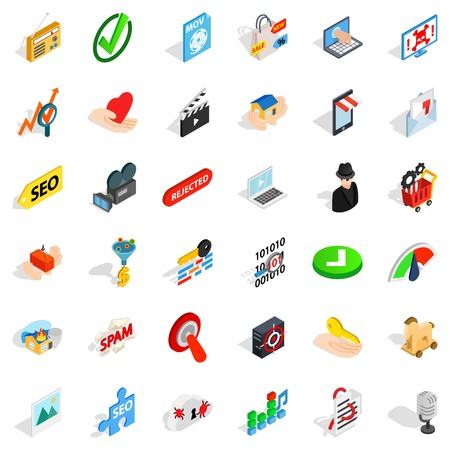 Isometric style of 36 computer protection vector icons for web isolated on white background