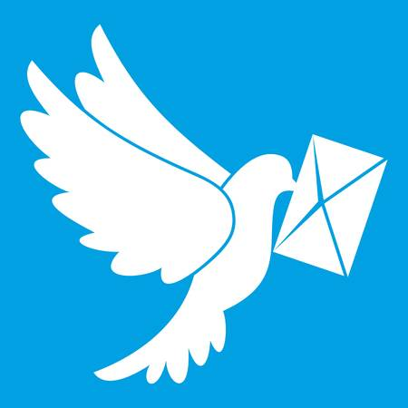 A Dove carrying envelope icon white illustration. Ilustração