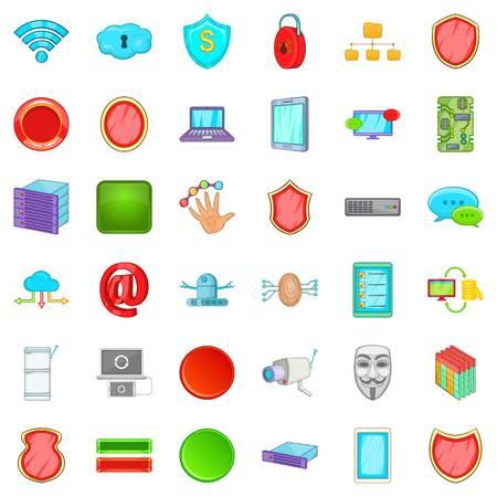 Internet security icons set, cartoon style