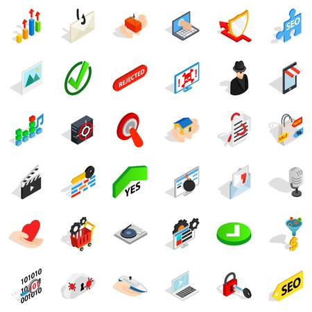 Secure safety icons set. Isometric style of 36 secure safety vector icons for web isolated on white background
