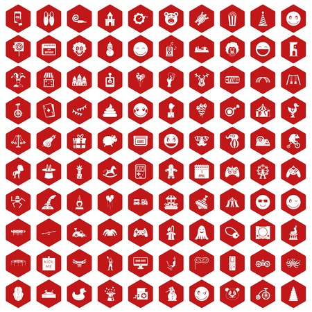 funny robot: 100 funny icons set in red hexagon isolated vector illustration