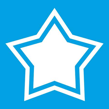 five star: Star icon white isolated on blue background vector illustration