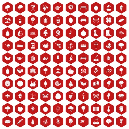 the sprouting: 100 gardening icons set in red hexagon isolated vector illustration