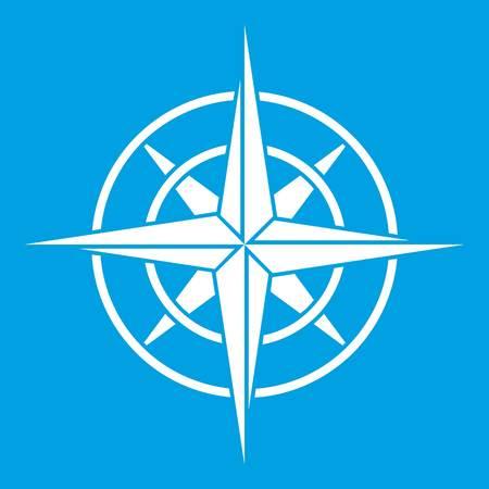Alte Kompass-Symbol weiß isoliert auf blauem Hintergrund Vektor-Illustration Standard-Bild - 83361483