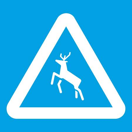 danger ahead: Deer traffic warning sign icon white isolated on blue background vector illustration Illustration