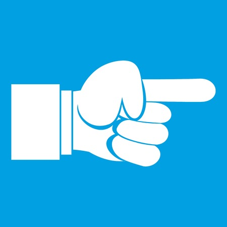 Pointing hand gesture icon white isolated on blue background vector illustration