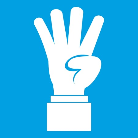 middle: Hand showing number four icon white isolated on blue background vector illustration