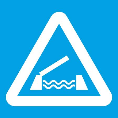 danger ahead: Lifting bridge warning sign icon white isolated on blue background vector illustration Illustration