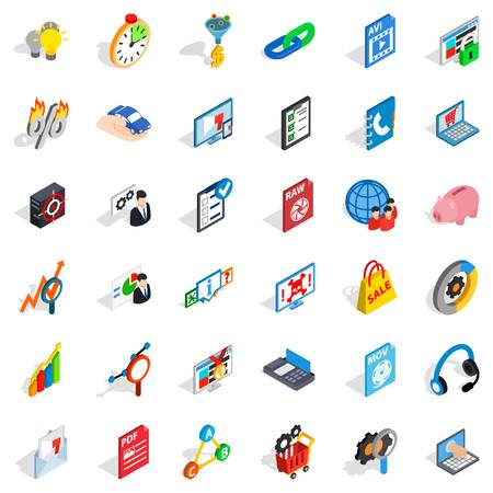 mov: Data cloud icons set. Isometric style of 36 data cloud vector icons for web isolated on white background Illustration