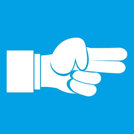 middle: Hand showing two fingers icon white isolated on blue background vector illustration Illustration