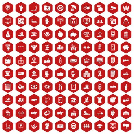 100 hand icons set in red hexagon isolated vector illustration