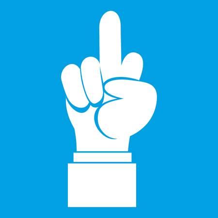 Het pictogramwit van de middelvingerhandteken op blauwe vectorillustratie wordt geïsoleerd die als achtergrond