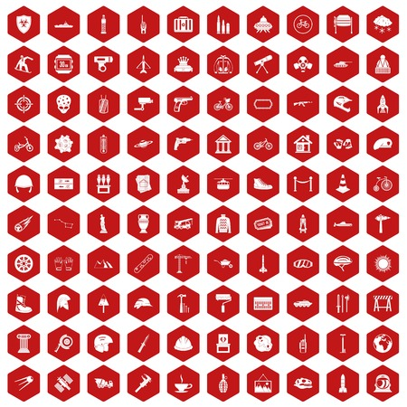 bicycle pump: 100 helmet icons set in red hexagon isolated vector illustration