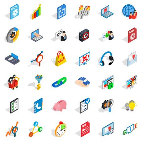 mov: Safe cloud icons set. Isometric style of 36 safe cloud vector icons for web isolated on white background Illustration