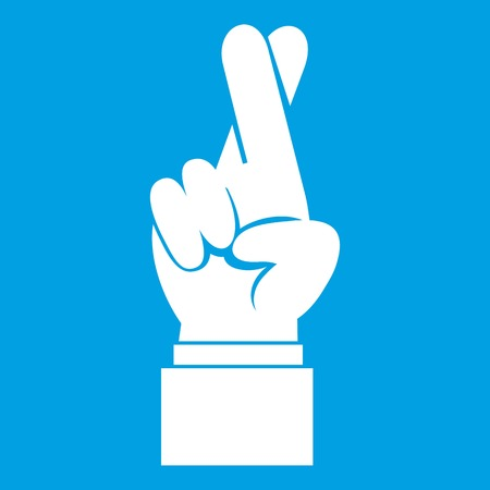 Fingers crossed icon white isolated on blue background vector illustration Illustration