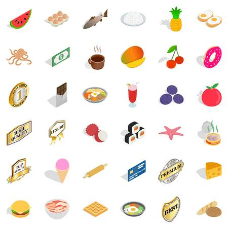 rolling bag: Delicious food icons set. Isometric style of 36 delicious food vector icons for web isolated on white background