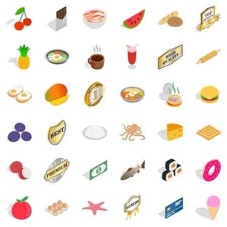 rolling bag: Sweet food icons set, isometric style Illustration
