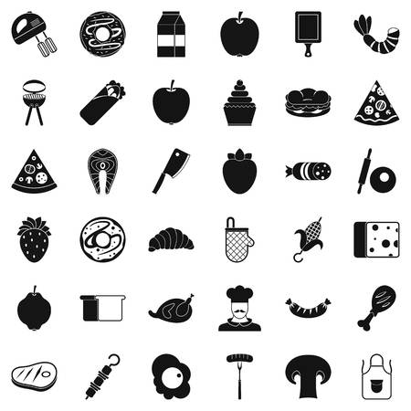 rolling bag: Delicious dish icons set. Simple style of 36 delicious dish vector icons for web isolated on white background