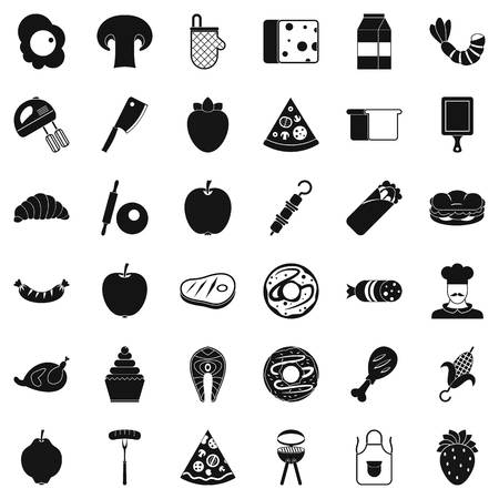 rolling bag: Meal dish icons set. Simple style of 36 meal dish vector icons for web isolated on white background