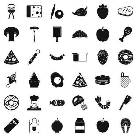 grille: Cooked food icons set. Simple style of 36 cooked food vector icons for web isolated on white background Illustration