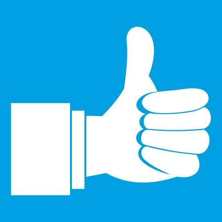 Thumb up gesture icon white isolated on blue background vector illustration