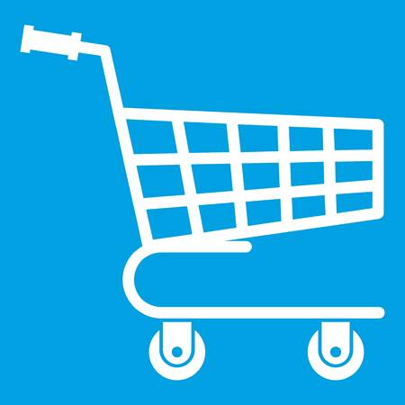 Shopping cart icon white isolated on blue background vector illustration Illustration