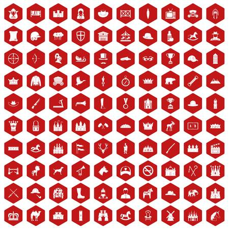 horse sleigh: 100 horsemanship icons set in red hexagon isolated vector illustration