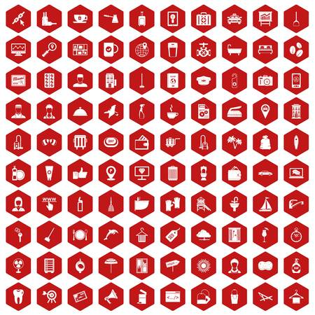 doctor gloves: 100 hotel services icons set in red hexagon isolated vector illustration