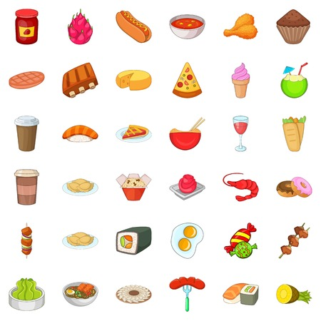 rolling bag: Cooking kitchen icons set, cartoon style Illustration