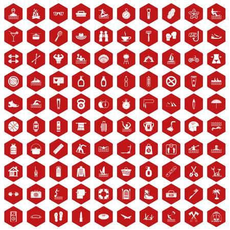 100 human health icons hexagon red
