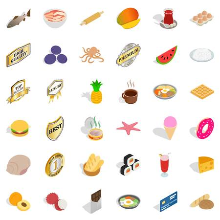 rolling bag: Delicious dishes icons set, isometric style