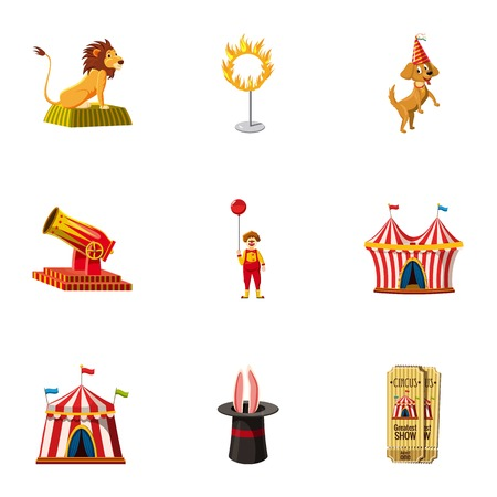 Circus equipment icons set, cartoon style
