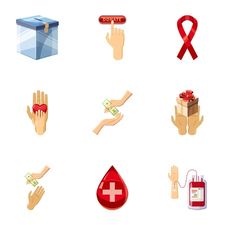 charity collection: Donor donation icons set, cartoon style