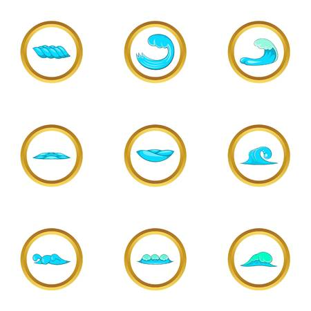 Water wave icons set. Cartoon set of 9 water wave vector icons for web isolated on white background 向量圖像