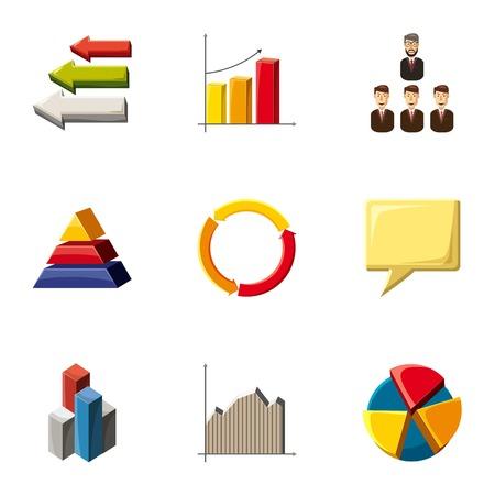 Trendy infographic icons set, cartoon style Illustration