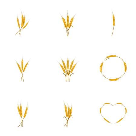Wheat ears or rice icons set, cartoon style Ilustração