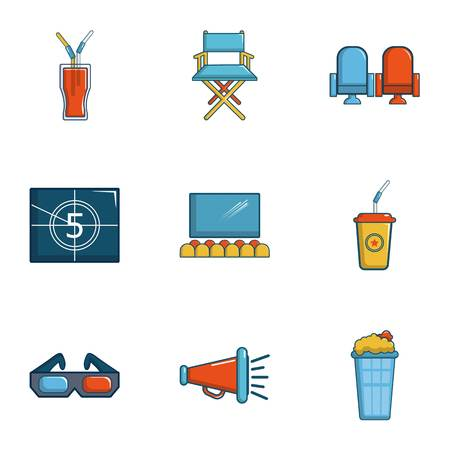 Cinematography icons set, cartoon style