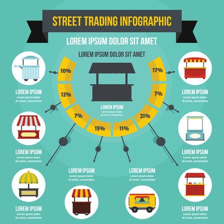Straat die infographic concept, vlakke stijl ruilen Stock Illustratie