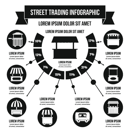 Street trading infographic concept, simple style Stock Vector - 83396780