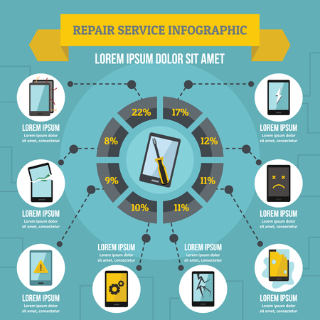 setup: Repair service infographic concept, flat style