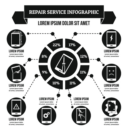 drown: Repair service infographic concept, simple style