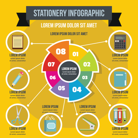 Stationery infographic concept, flat style