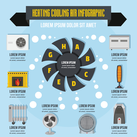 Het verwarmen van koele lucht infographic concept, vlakke stijl