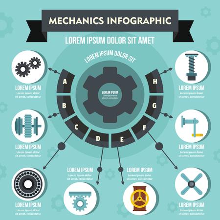 worm gear: Mechanics infographic concept, flat style Illustration
