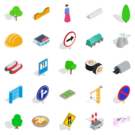 Wayside icons set, isometric style Illustration