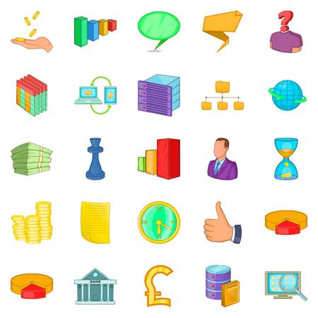 Employee search icons set, cartoon style