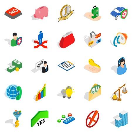 Planning icons set, isometric style Illustration