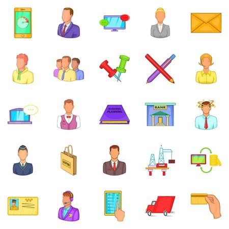 Business process icons set, cartoon style Illustration