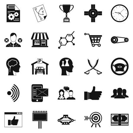 General director icons set, simple style