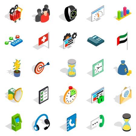 Strategy icons set, isometric style Illustration